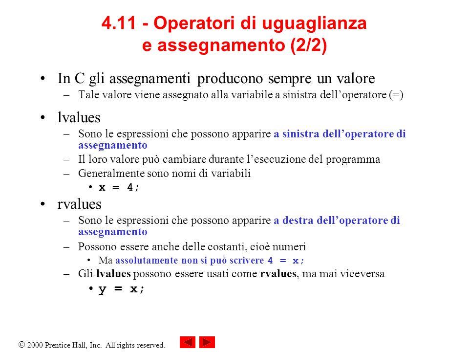 4.11 - Operatori di uguaglianza e assegnamento (2/2)