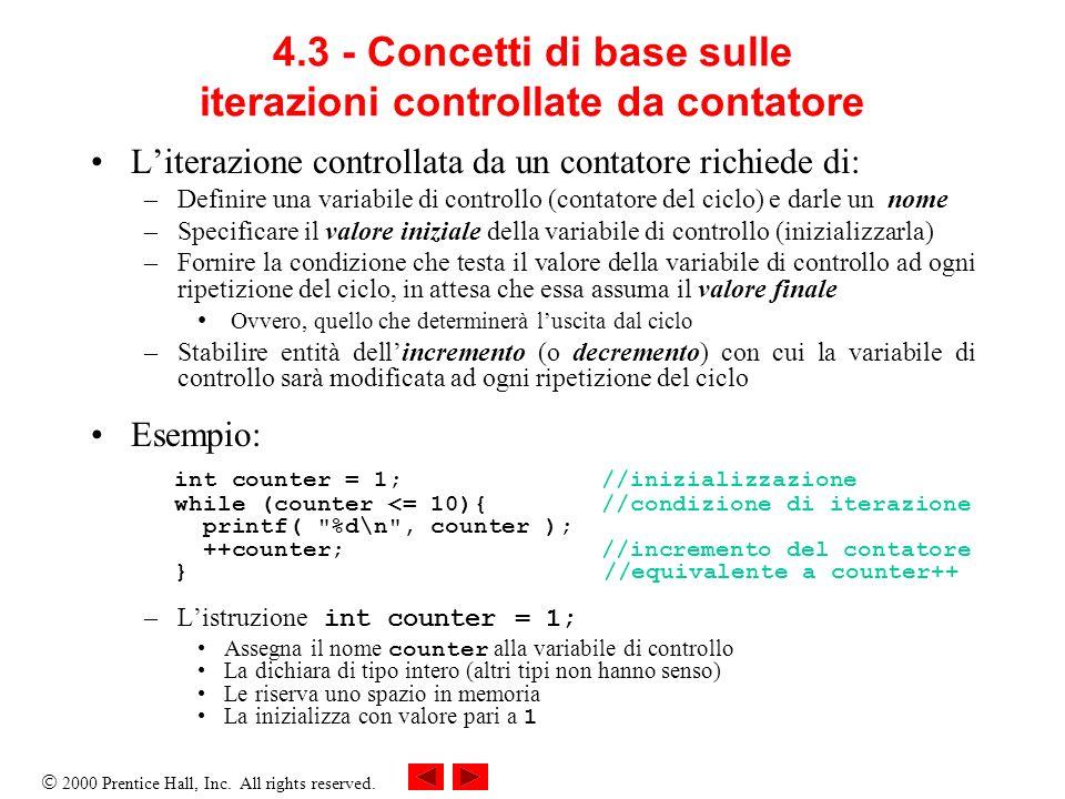 4.3 - Concetti di base sulle iterazioni controllate da contatore