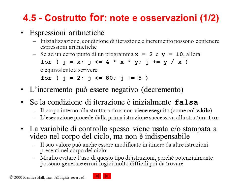 4.5 - Costrutto for: note e osservazioni (1/2)