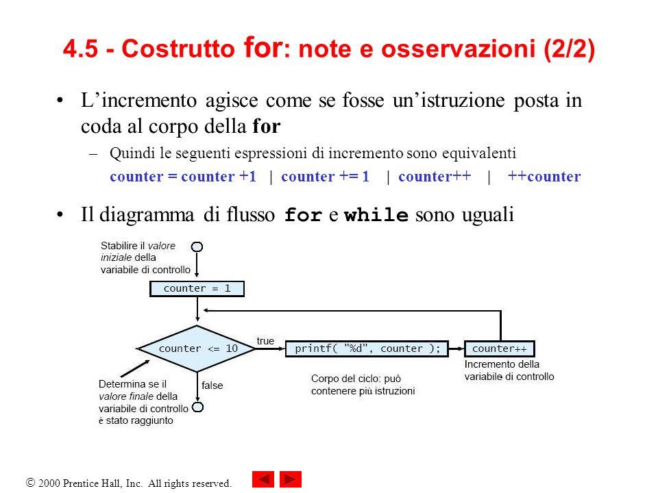 4.5 - Costrutto for: note e osservazioni (2/2)
