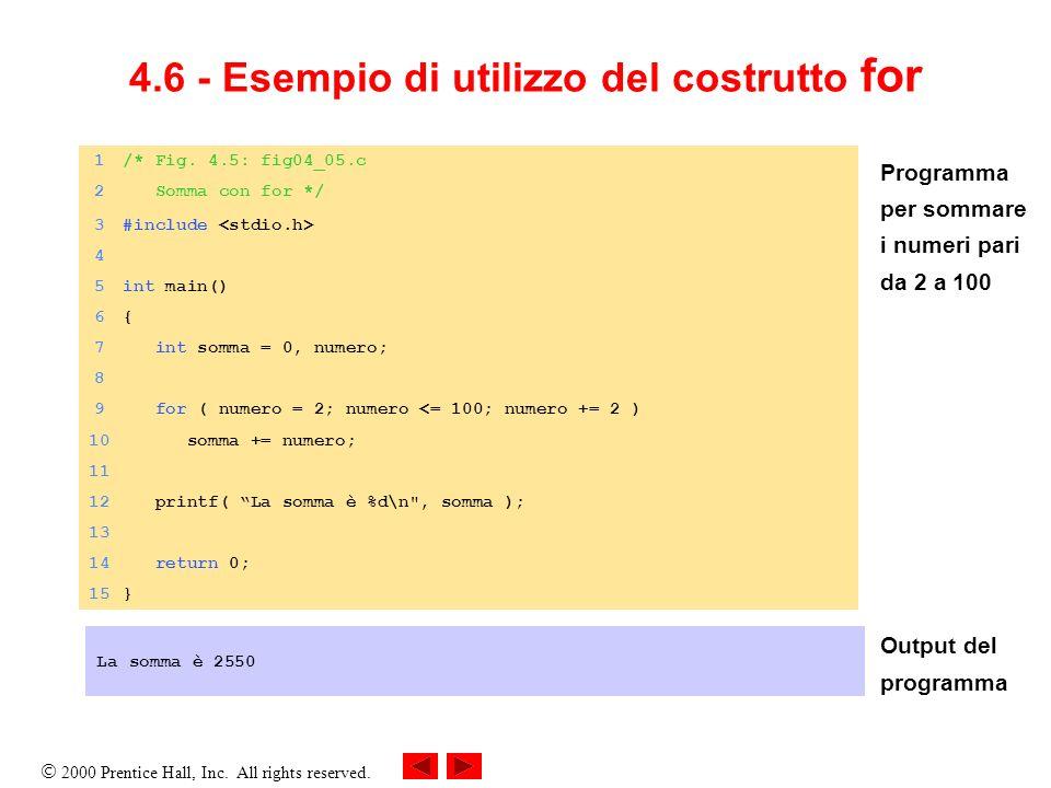 4.6 - Esempio di utilizzo del costrutto for