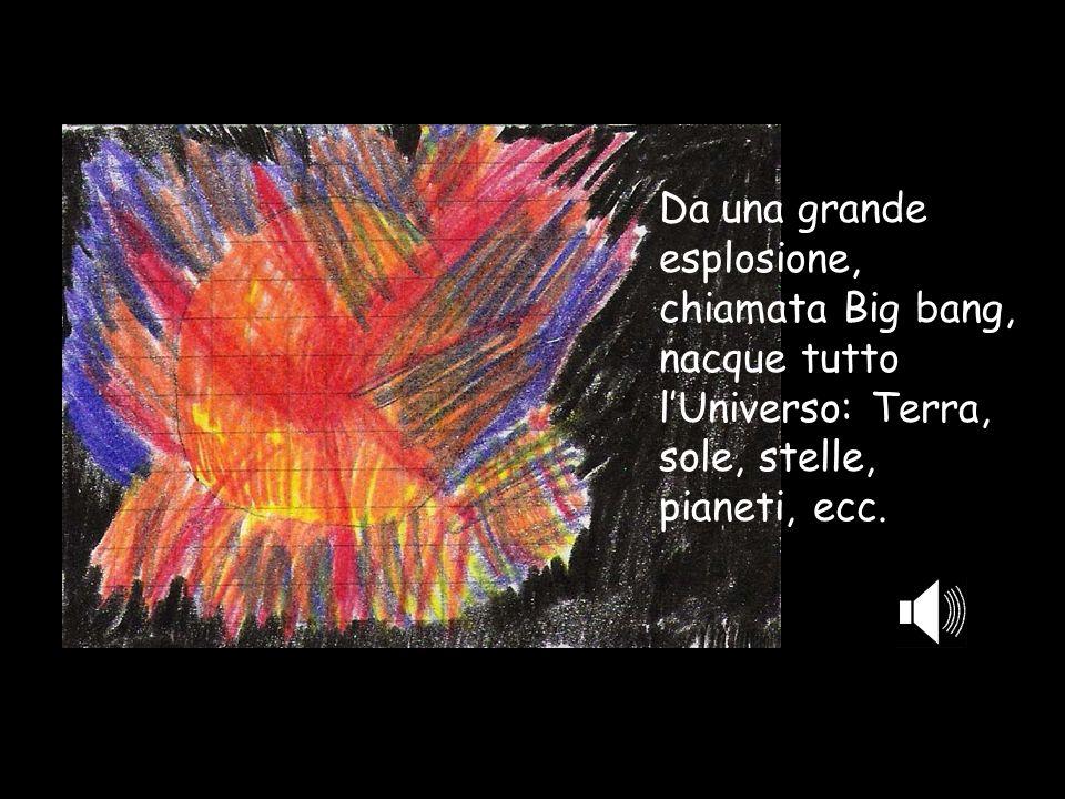 Da una grande esplosione, chiamata Big bang, nacque tutto l'Universo: Terra, sole, stelle, pianeti, ecc.