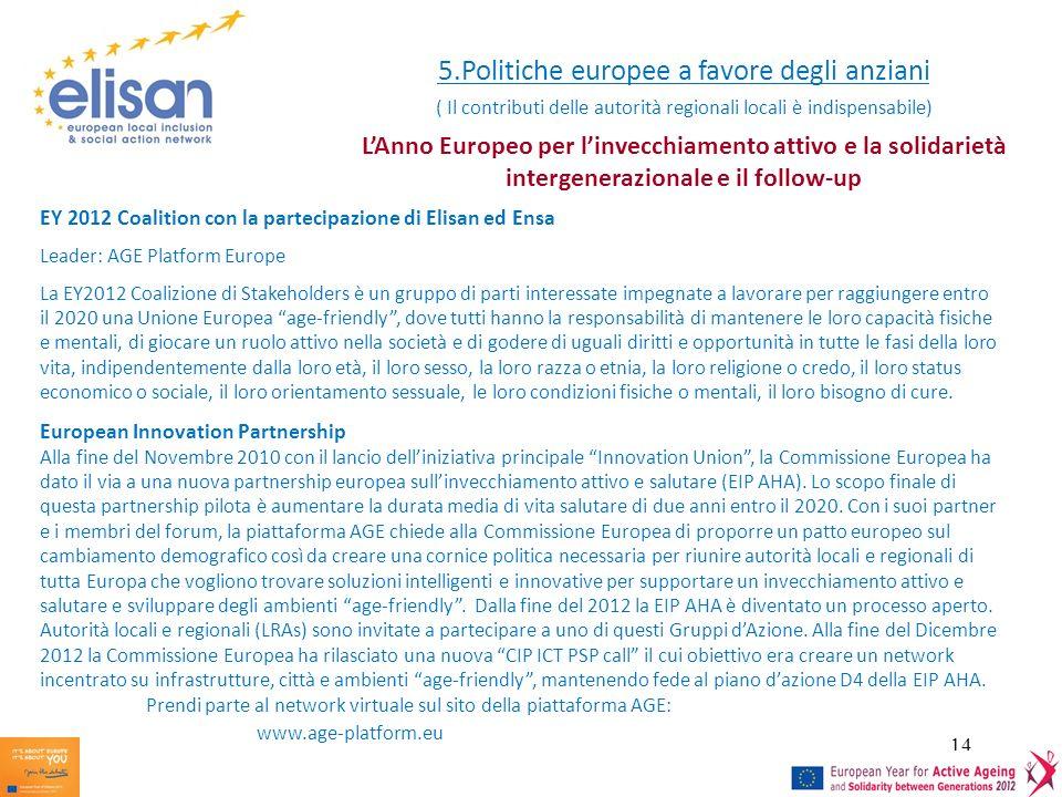 5.Politiche europee a favore degli anziani