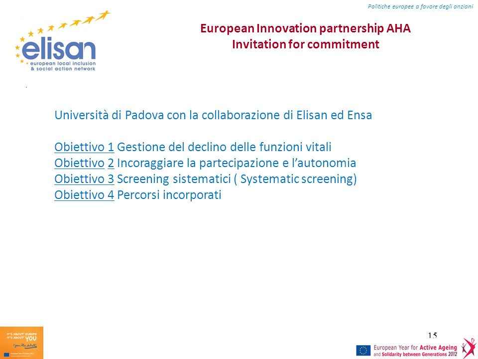 European Innovation partnership AHA Invitation for commitment