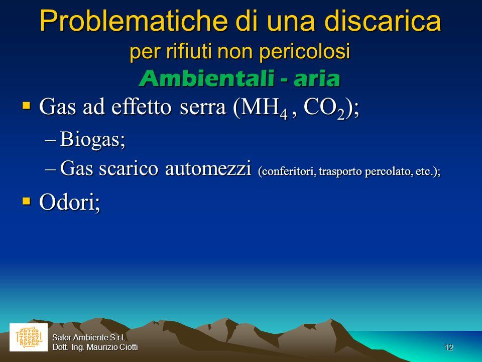 Problematiche di una discarica per rifiuti non pericolosi Ambientali - aria