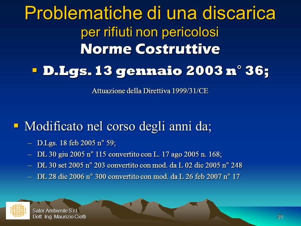 Attuazione della Direttiva 1999/31/CE
