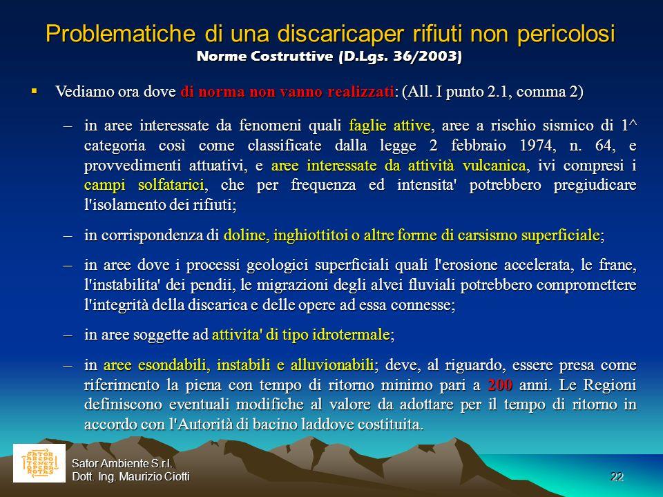 Problematiche di una discaricaper rifiuti non pericolosi Norme Costruttive (D.Lgs. 36/2003)
