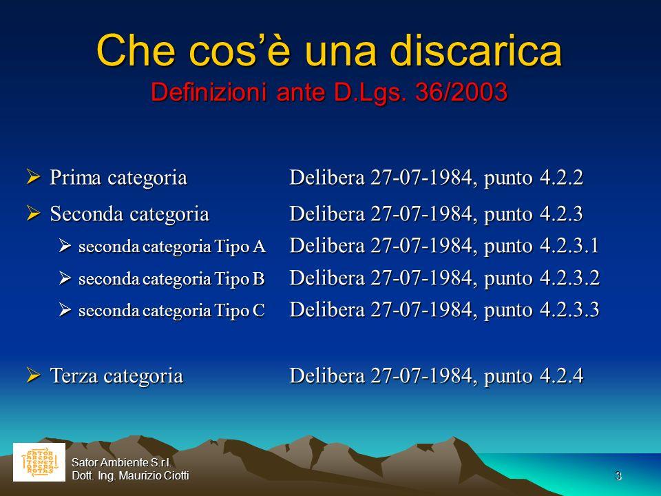 Che cos'è una discarica Definizioni ante D.Lgs. 36/2003