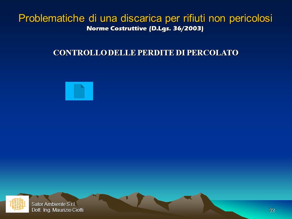CONTROLLO DELLE PERDITE DI PERCOLATO