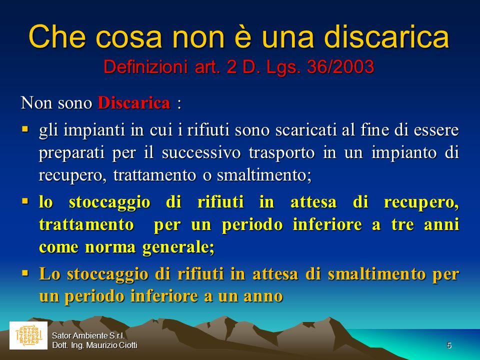 Che cosa non è una discarica Definizioni art. 2 D. Lgs. 36/2003