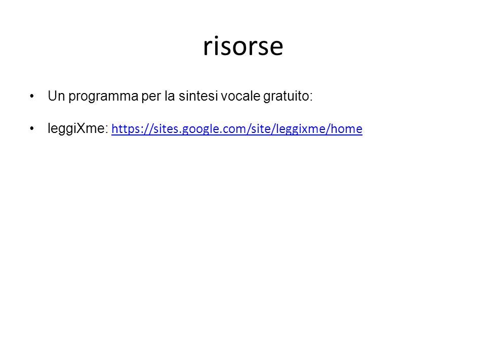 risorse Un programma per la sintesi vocale gratuito: