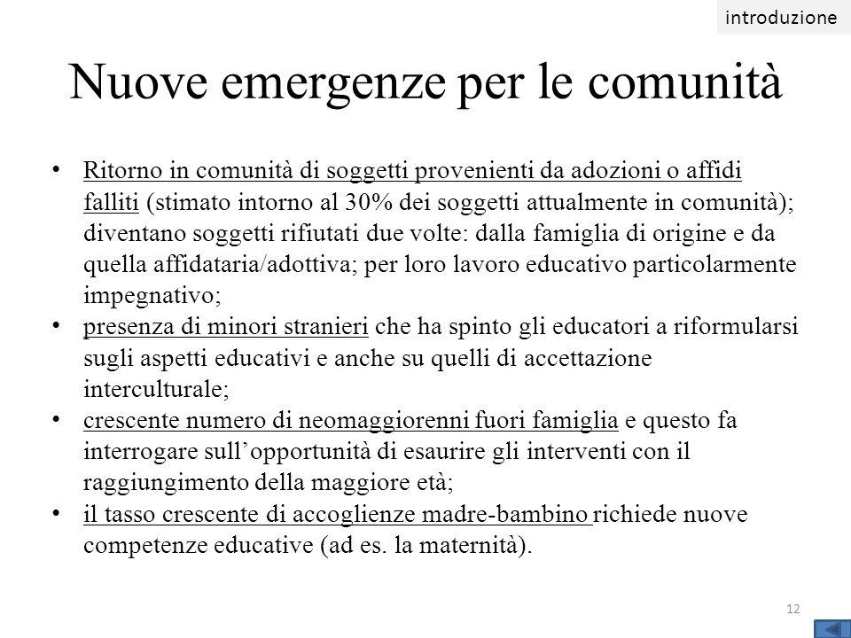 Nuove emergenze per le comunità