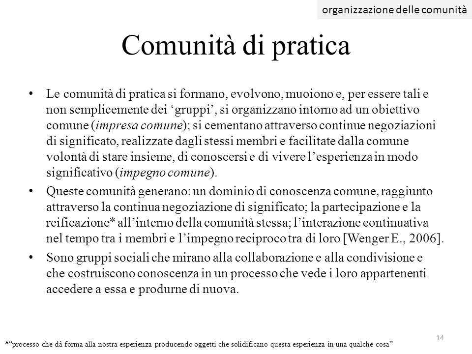 organizzazione delle comunità