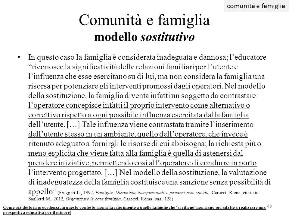 Comunità e famiglia modello sostitutivo