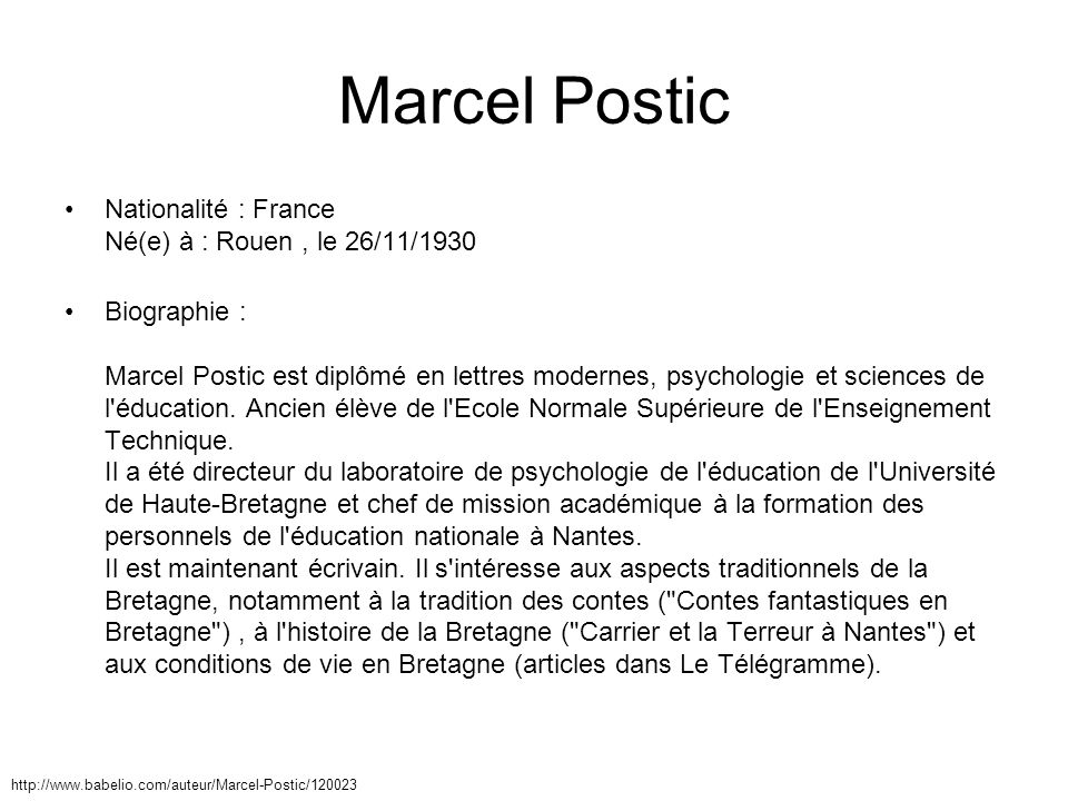 Marcel Postic Nationalité : France Né(e) à : Rouen , le 26/11/1930