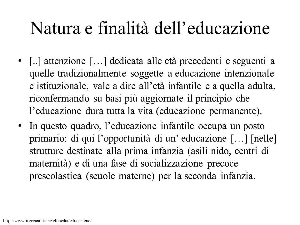 Natura e finalità dell'educazione
