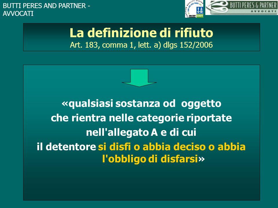 La definizione di rifiuto Art. 183, comma 1, lett. a) dlgs 152/2006