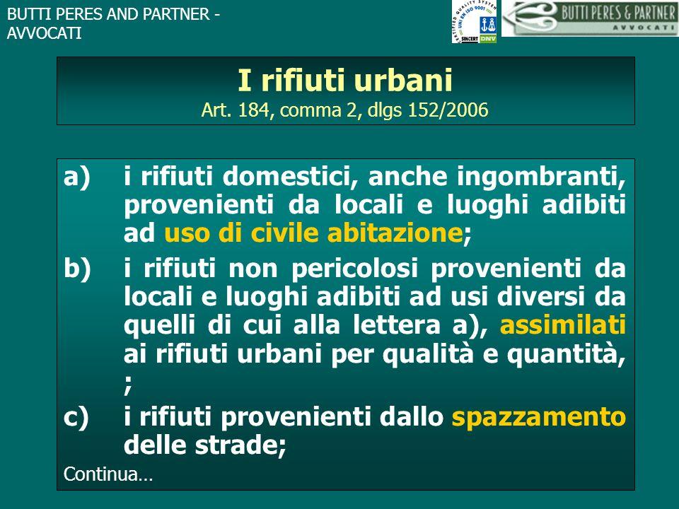 I rifiuti urbani Art. 184, comma 2, dlgs 152/2006