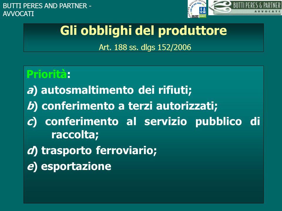Gli obblighi del produttore Art. 188 ss. dlgs 152/2006