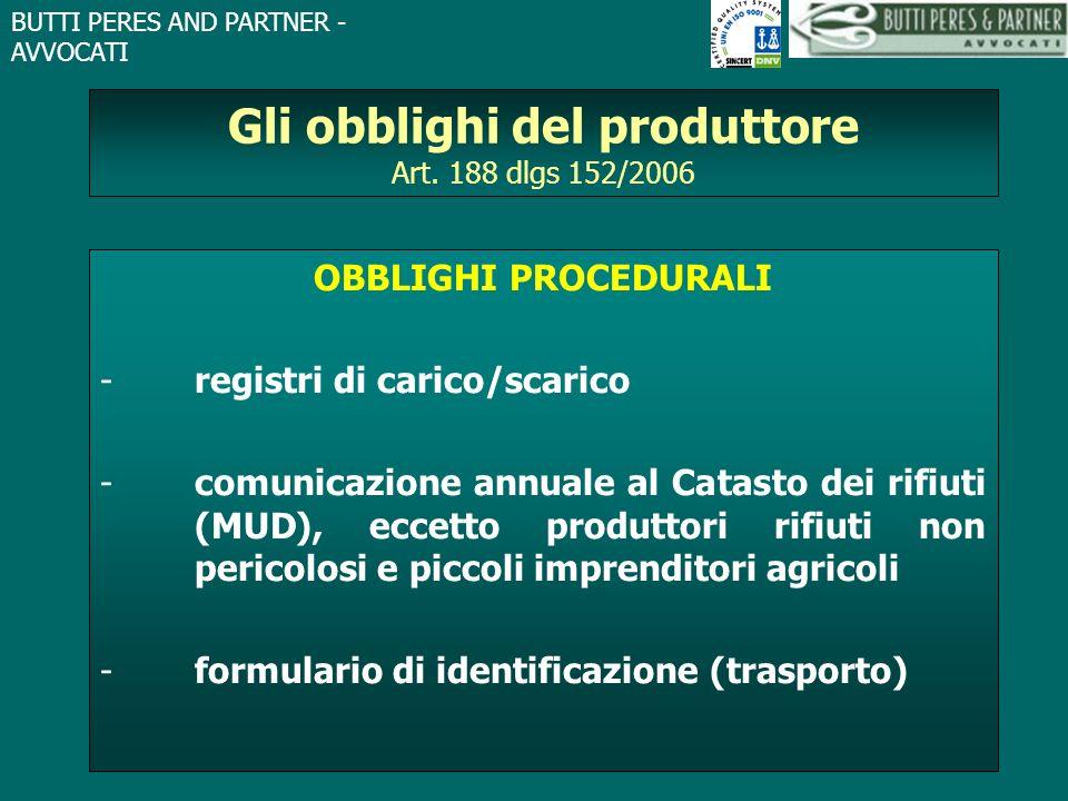 Gli obblighi del produttore Art. 188 dlgs 152/2006