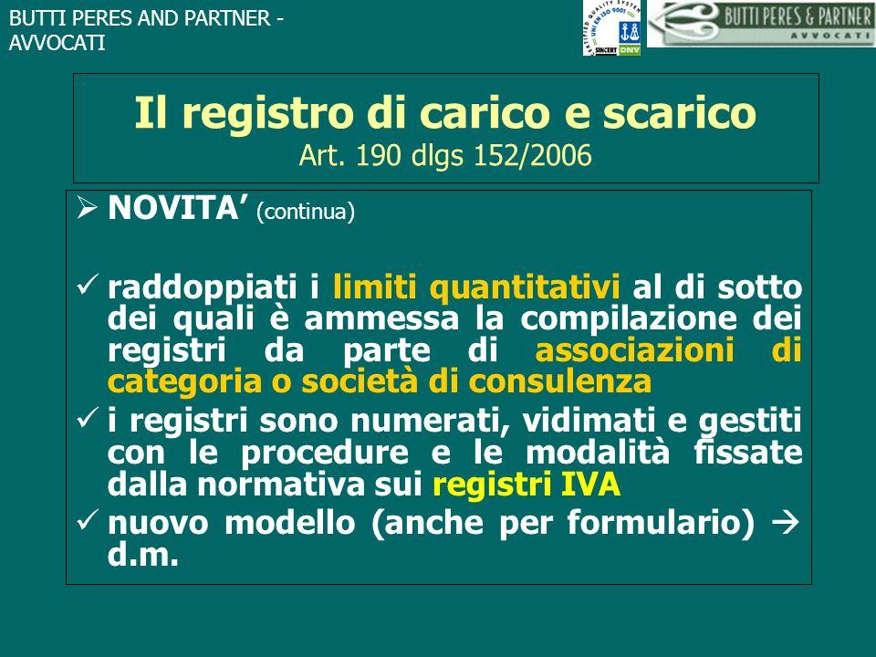 Il registro di carico e scarico Art. 190 dlgs 152/2006