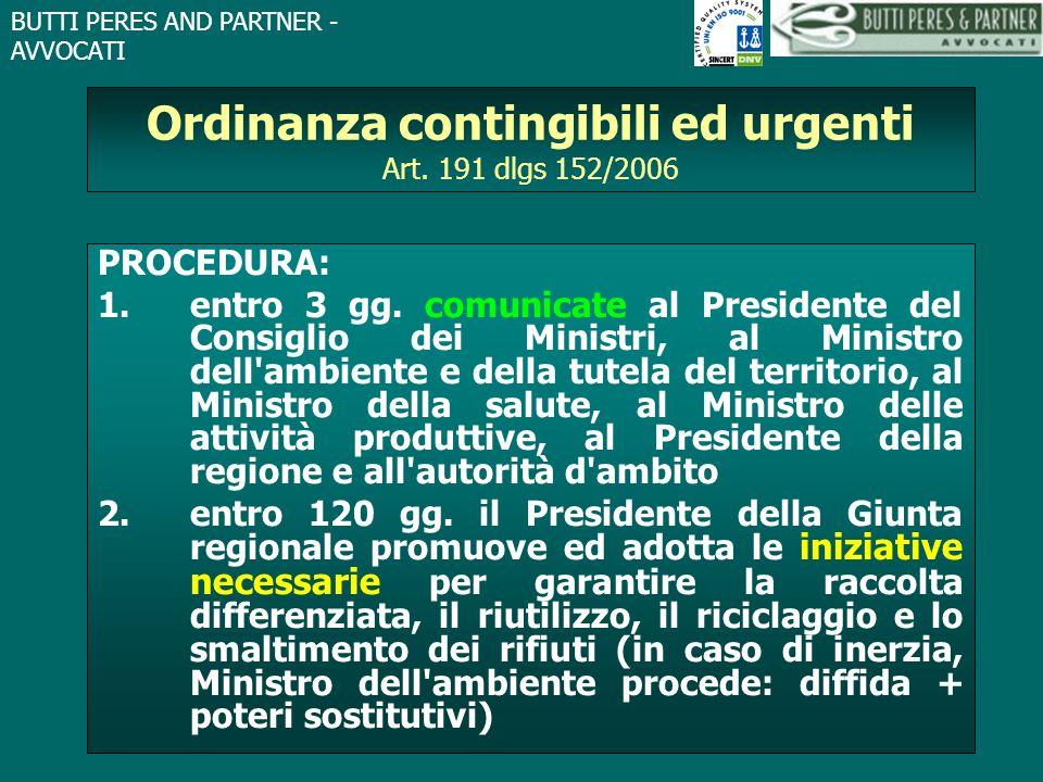 Ordinanza contingibili ed urgenti Art. 191 dlgs 152/2006