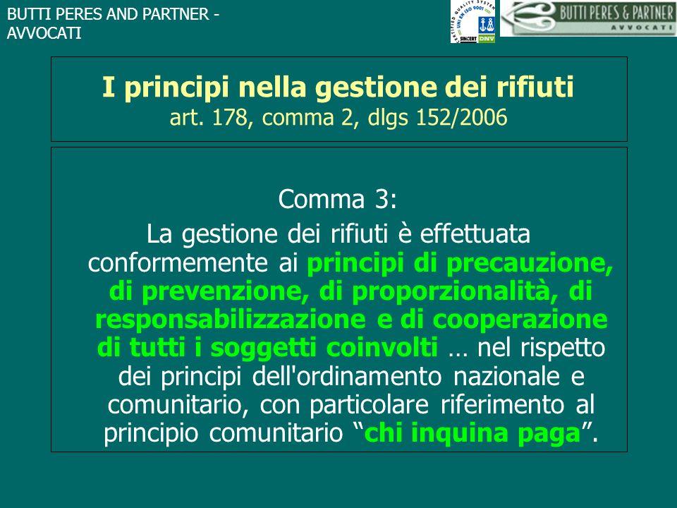 I principi nella gestione dei rifiuti art. 178, comma 2, dlgs 152/2006