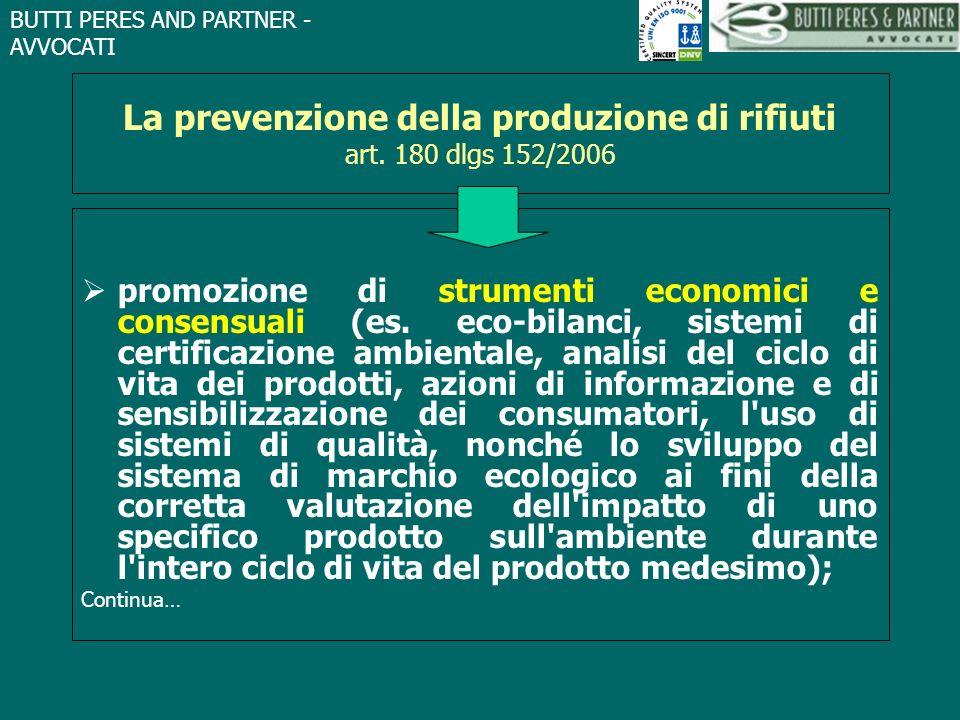 La prevenzione della produzione di rifiuti art. 180 dlgs 152/2006