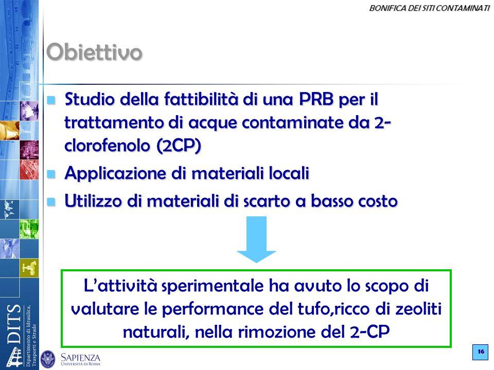Obiettivo Studio della fattibilità di una PRB per il trattamento di acque contaminate da 2-clorofenolo (2CP)