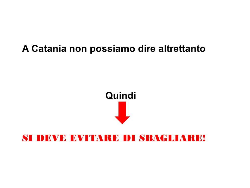 A Catania non possiamo dire altrettanto