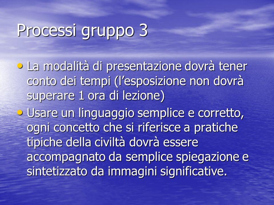 Processi gruppo 3 La modalità di presentazione dovrà tener conto dei tempi (l'esposizione non dovrà superare 1 ora di lezione)