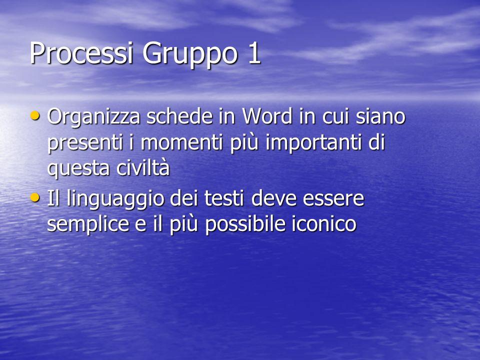 Processi Gruppo 1 Organizza schede in Word in cui siano presenti i momenti più importanti di questa civiltà.