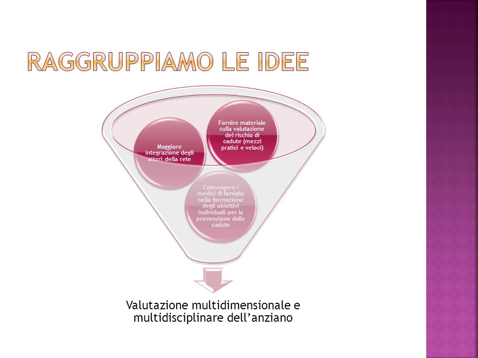 Raggruppiamo le idee Valutazione multidimensionale e multidisciplinare dell'anziano.