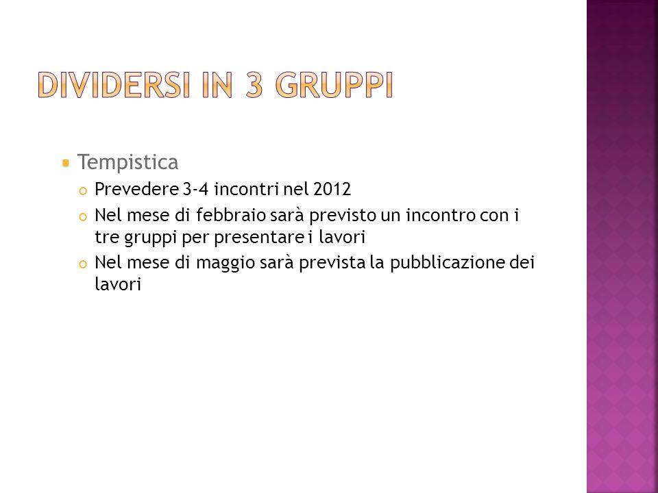 Dividersi in 3 gruppi Tempistica Prevedere 3-4 incontri nel 2012