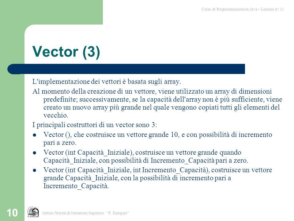 Vector (3) L implementazione dei vettori è basata sugli array.