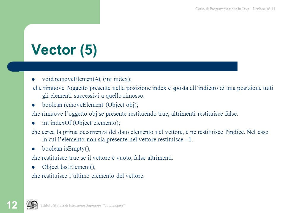 Vector (5) void removeElementAt (int index);