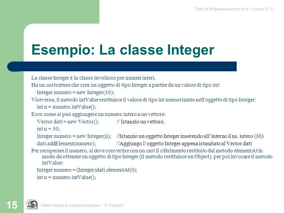 Esempio: La classe Integer
