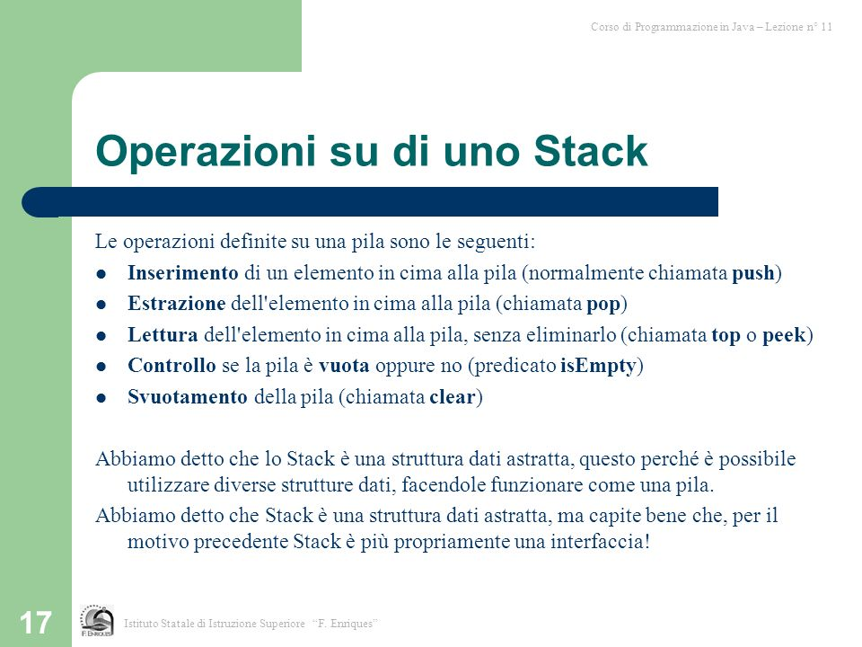 Operazioni su di uno Stack
