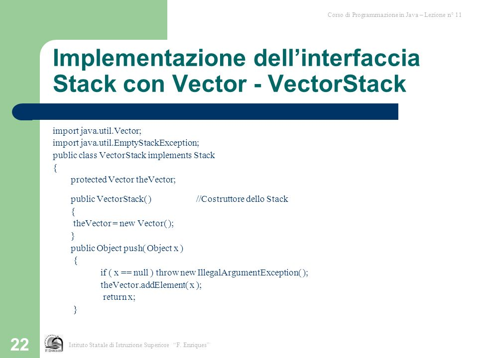 Implementazione dell'interfaccia Stack con Vector - VectorStack