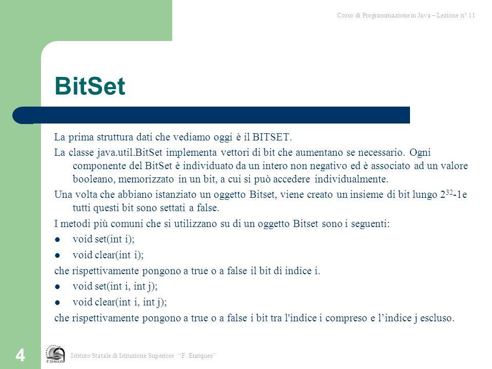 BitSet La prima struttura dati che vediamo oggi è il BITSET.