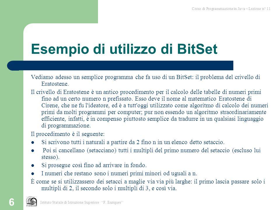 Esempio di utilizzo di BitSet