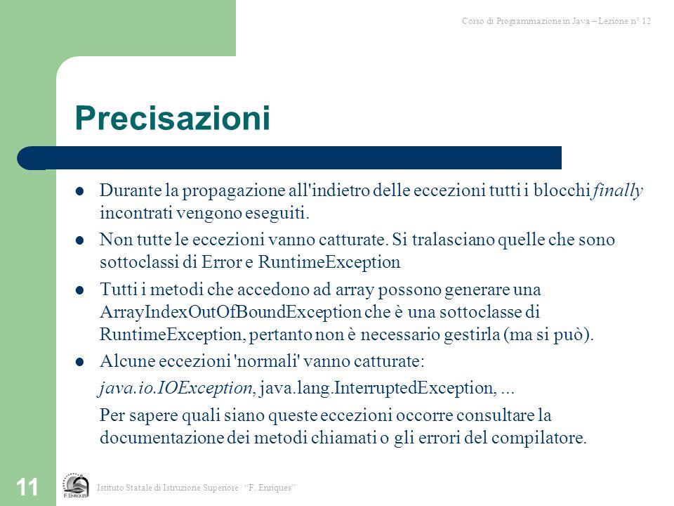 Corso di Programmazione in Java – Lezione n° 12