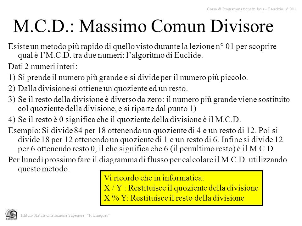 M.C.D.: Massimo Comun Divisore