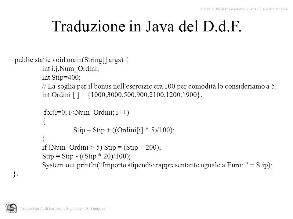 Traduzione in Java del D.d.F.