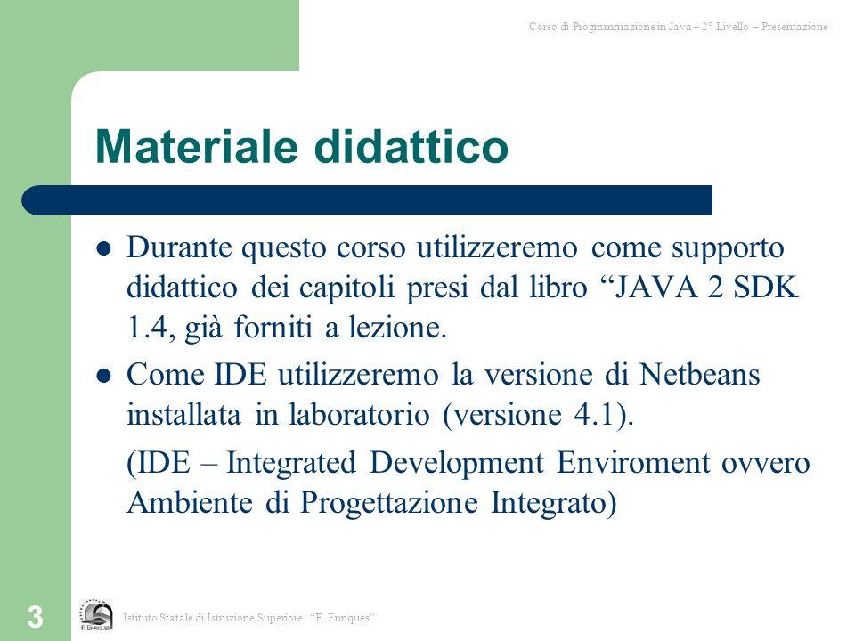 Corso di Programmazione in Java – 2° Livello – Presentazione