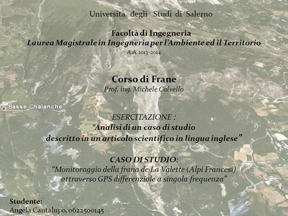 Corso di Frane Università degli Studi di Salerno Facoltà di Ingegneria