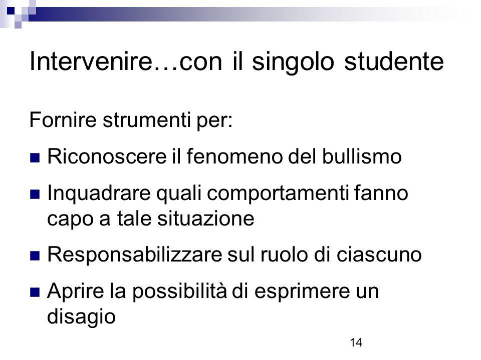Intervenire…con il singolo studente