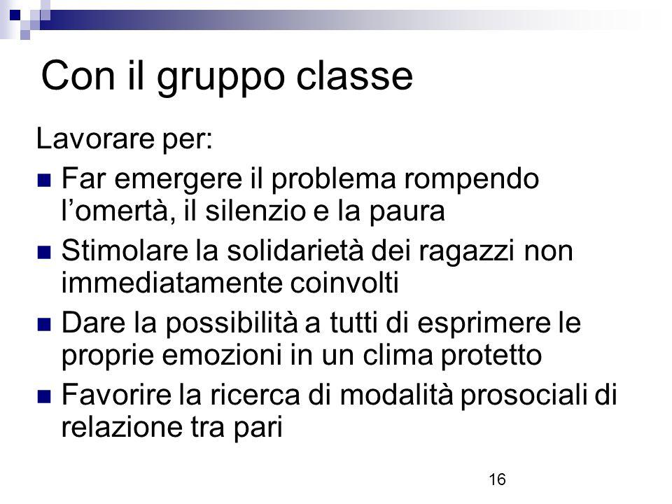 Con il gruppo classe Lavorare per: