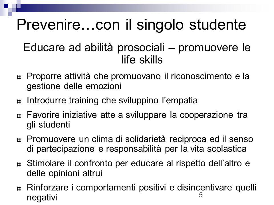 Prevenire…con il singolo studente