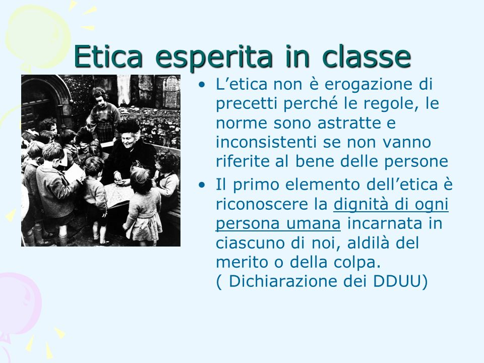Etica esperita in classe